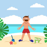 Funny kids on the beach. Happy boy sunbathing and building sand castle on the beach. Royalty Free Stock Images