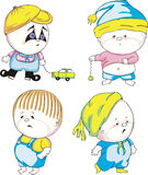 Funny kids - boys. Set of color vector illustrations Royalty Free Stock Photo