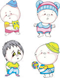 Funny kids - boys. Set of color vector illustrations Stock Images
