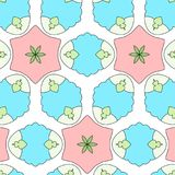 Funny kids cartoon pattern with geometric ornament. Patterns pink and blue. Funny kids cartoon pattern with geometric ornament. Patterns baby pink and blue Royalty Free Stock Photography