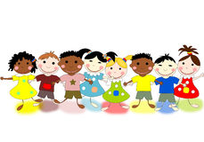 Funny kids of different races on  background Stock Images