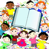 Funny kids of different races with big book. On a white background with letters Stock Photography