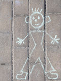 Funny kids drawing with chalk Royalty Free Stock Images