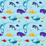 Funny kids fish in water seamless vector background. Underwater colored pattern with whale illustration Stock Photo