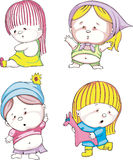 Funny kids - girls. Set of color vector illustrations Royalty Free Stock Photo