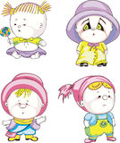 Funny kids - girls. Set of color vector illustrations Royalty Free Stock Images
