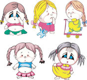 Funny kids - girls with braids. Set of color vector illustrations Stock Photography