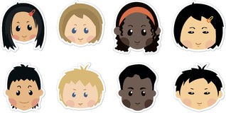 Funny kids icons. Face character, boys, girls, child baby cartoon Royalty Free Stock Image