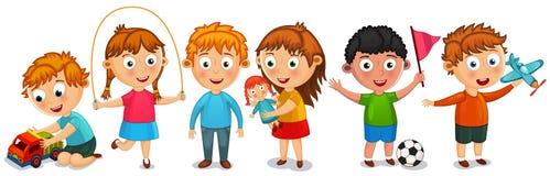 Funny kids isolated on white bakcground vector illustration stock illustration