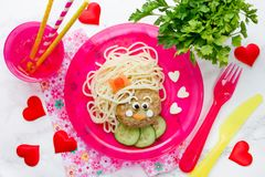 Funny kids lunch spaghetti pasta with meatball Royalty Free Stock Photos