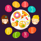 Funny kids menu template Royalty Free Stock Photos