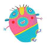 Funny kids monster jumping creature. Cartoon happy childish imaginary animal. Vector cartoon Royalty Free Stock Photography