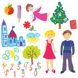 Funny kids pictures cartoon. Set Royalty Free Stock Photo