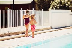 Funny kids playing by the pool. Summer fashion for children stock images