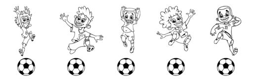 Set of contour soccer players kicking the ball stock illustration
