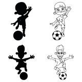 Set of silhouettes and a contour of soccer players playing ball stock illustration