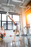Funny kids in sportswear training at fitness studio together. Children sport concept royalty free stock photos