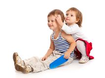 Funny kids in a studio Royalty Free Stock Photo