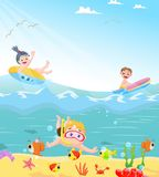 Funny kids swimming theme. Vector illustration of funny kids swimming theme  on white Royalty Free Stock Photography