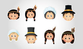 Funny kids - thanksgiving day. Set eps 10 Royalty Free Stock Image