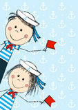 Funny kids. Wearing sailor costume Royalty Free Stock Image