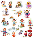 Funny kids on a white background. Freehand drawing. Child's picture book Stock Images