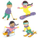 Funny kids and winter sports. Royalty Free Stock Image