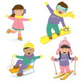 Funny kids and winter sports. Stock Images