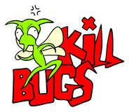 Funny kill bugs message Stock Photos