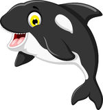 Funny killer whale cartoon swimming Stock Photo
