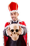 The funny king with skull isolated on white Stock Photography