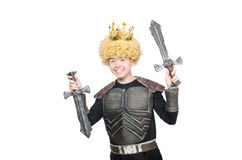 Funny king with sword isolated Royalty Free Stock Image