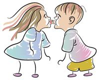 Funny kiss Stock Images