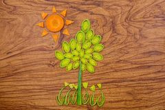 Tree, flowers and sun made of leek and carrot slices on wooden cutting board background. Royalty Free Stock Images