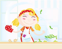 Funny kitchen girl Royalty Free Stock Photography