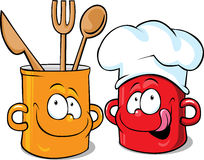Funny kitchen pot character - pot vector Stock Photos