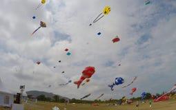 Funny kites compitition at hua hin thailand royalty free stock image