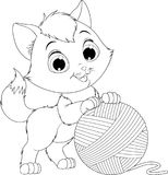 Funny kitten with a ball of threads. Vector illustration, coloring, funny kitten playing with a ball of yarnsn Royalty Free Stock Photos
