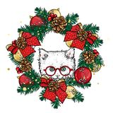 Funny kitten in a Christmas wreath with balls and bows. Vector illustration. New Year`s and Christmas. Beautiful cat. Royalty Free Stock Image