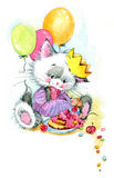 Funny kitten. decor for kid Birthday background for holiday. wat Stock Illustration