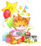 funny kitten. decor for kid Birthday background for holiday. watercolor illustration