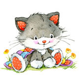 Funny kitten. element for holiday greetings card and kids background. watercolor Royalty Free Stock Images