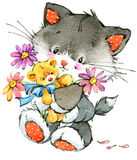 Funny kitten. element for holiday greetings card and kids background. watercolor Royalty Free Stock Photography