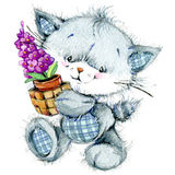 Funny kitten and flower  for holiday greetings card and kids bac Royalty Free Stock Images