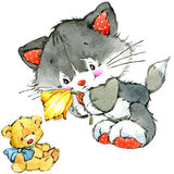 Funny kitten, flower and kids background. watercolor Royalty Free Stock Photography