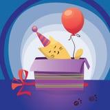 Funny kitten in gift box. Happy Birthday Greeting Card stock illustration
