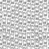 Funny kitten hand drawn seamless pattern. Black and white line royalty free illustration