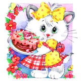 Funny kitten illustration for kid Birthday background for holiday. wat Stock Images