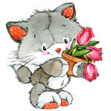 Funny kitten and kids background. watercolor Stock Photo