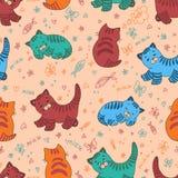 Funny kitten seamless pattern royalty free illustration